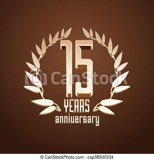15 Years Anniversary Vector Logo 15th Birthday Age Classic