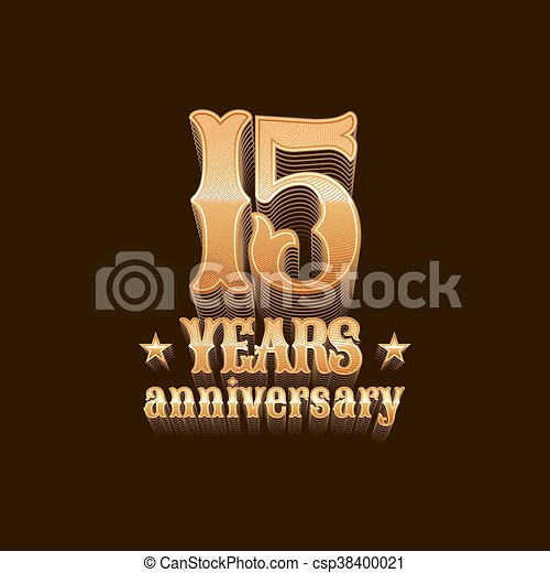 15 Years Anniversary Vector Logo Icon 15th Birthday Decoration