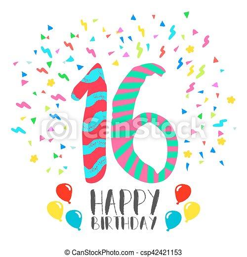 16 års fest 16, år, fødselsdag, invitation, gilde, card, glade. 16, gilde  16 års fest
