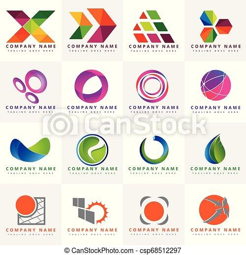 16 Beautiful Colorful vector logo design templates - csp68512297
