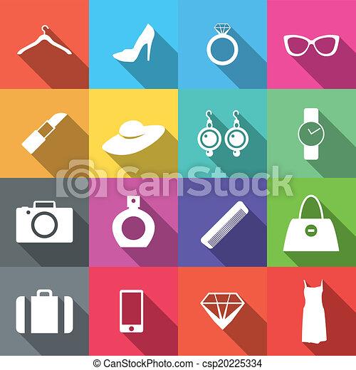 16 Flat long shadow fashion icons - csp20225334