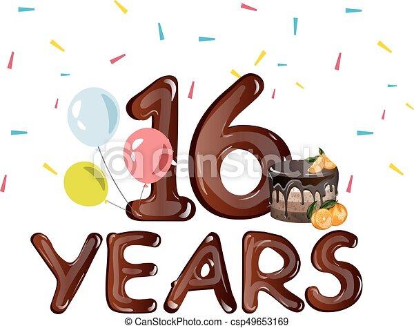 16 års fest 16, hils, år, fødselsdag card, fest. Fødselsdag, card., 16, hils  16 års fest