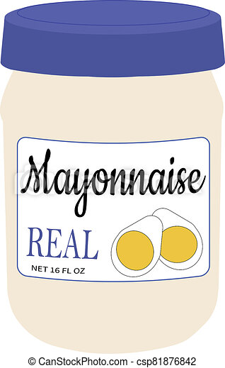 16 oz Jar of Mayonaise Illustration - csp81876842