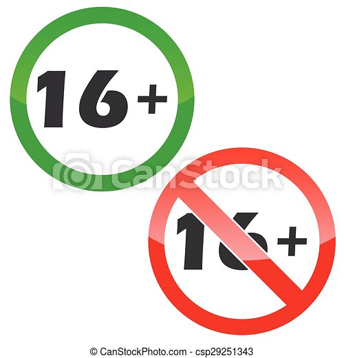 16 plus permission signs set - csp29251343
