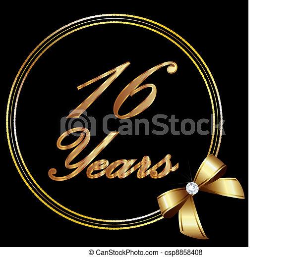 16 Years Anniversary Gold And Ribbon