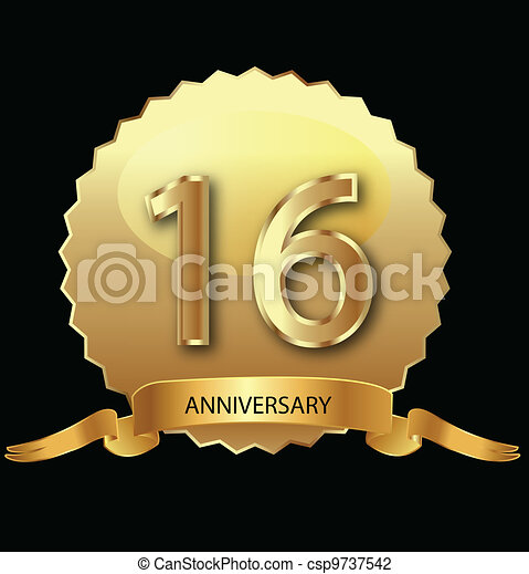 16th anniversary in gold seal  - csp9737542