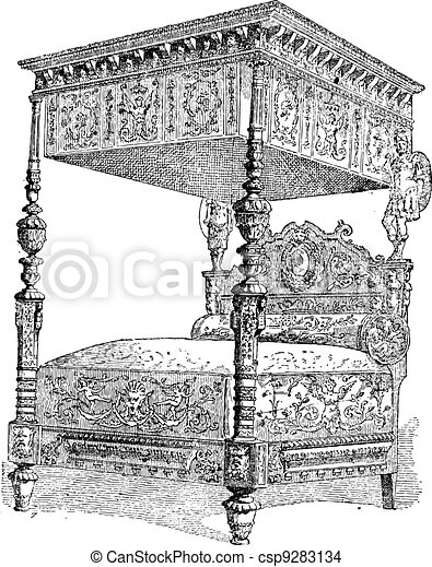 16th Century Bed at the National Museum of the Middle Ages in Paris, France, vintage engraving - csp9283134