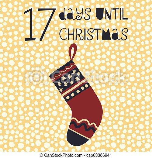 Days Until Christmas Countdown.17 Days Until Christmas Vector Illustration Christmas Countdown Seventeen Days Til Santa Vintage Scandinavian Style Hand Drawn Stocking Holiday