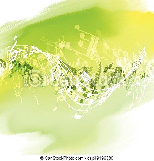 1707, notas, watercolour, música, textura, abstratos - csp49196580