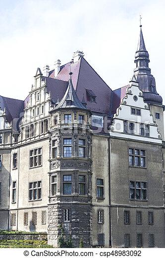 17th century Moszna Castle in sunny day, Upper Silesia, Poland - csp48983092