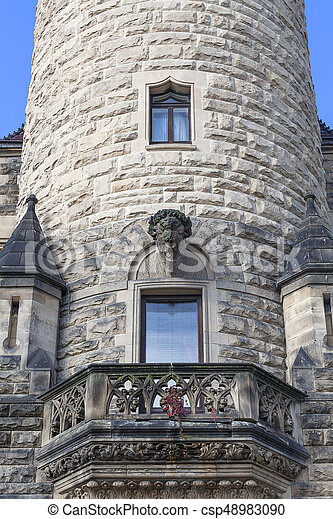 17th century Moszna Castle, tower with details, Upper Silesia, Poland - csp48983090