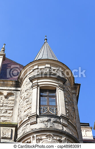 17th century Moszna Castle, tower with details, Upper Silesia, Poland - csp48983091