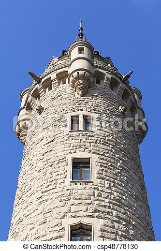 17th century Moszna Castle, tower with details, Upper Silesia, Poland - csp48778130