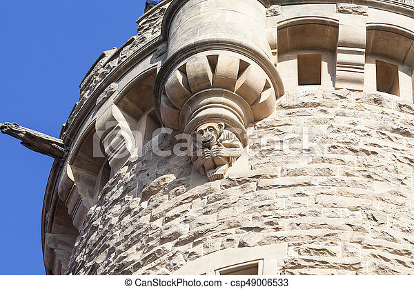 17th century Moszna Castle, tower with details, Upper Silesia, Poland - csp49006533