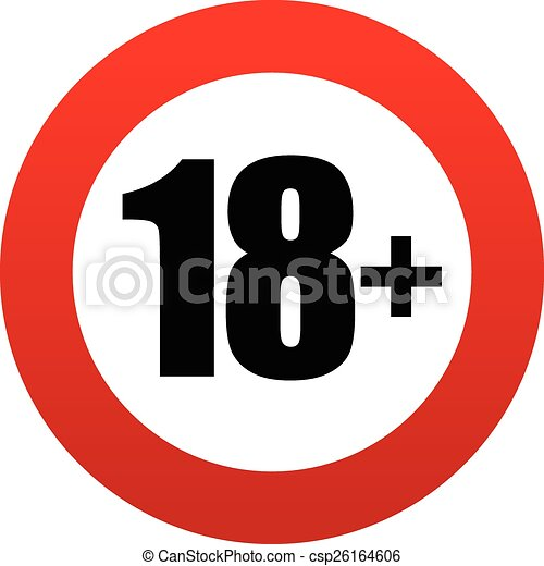 18+ age restriction sign. - csp26164606