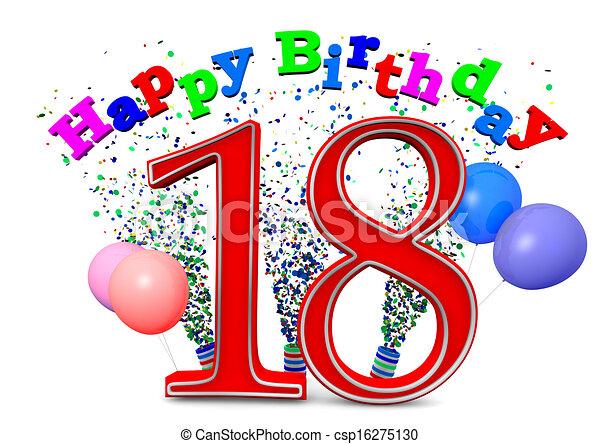 18 födelsedag 18, födelsedag, lycklig. 18 födelsedag