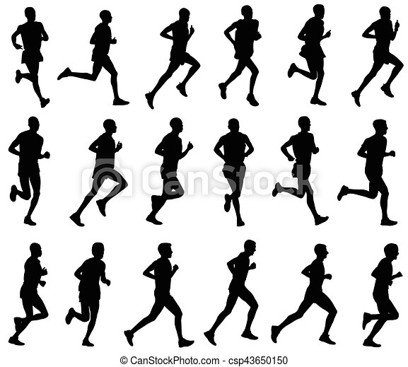 18 Marathon Runners Silhouettes