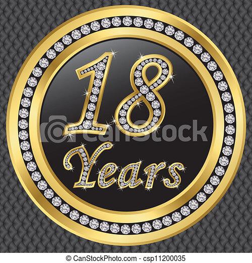 18 Years Anniversary Happy Birthday Golden Icon With Vectors