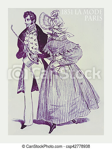 1831 Fashion French Magazine La Mode Lady And Gentleman Walking Fancy Dressed