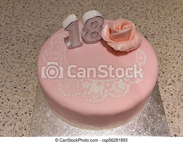 Miraculous 18Th Birthday Cake Pink Birthday Cake With The Number 18 Funny Birthday Cards Online Inifodamsfinfo