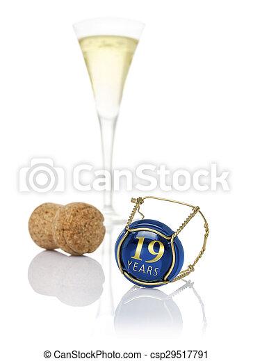 19, 碑文, 帽子, シャンペン, 年 - csp29517791