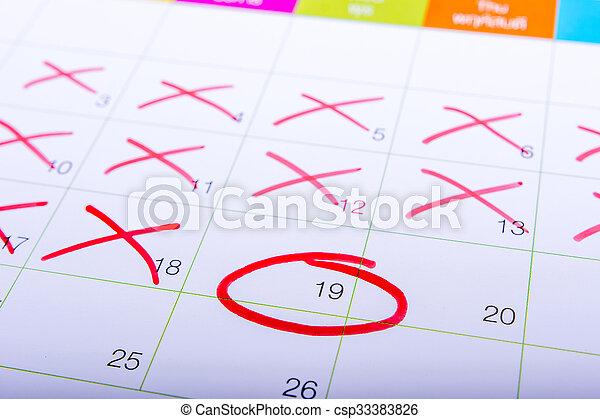 Marca Calendario.19 Calendario Circle Rojo Marca