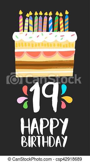 19 års fest 19, fødselsdag, år, kage, gilde, nineteen, card, glade  19 års fest