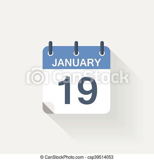 19, januari, kalender, pictogram - csp39514053