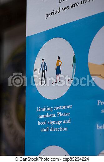 19, tienda, covid, señal, social, distancing - csp83234224