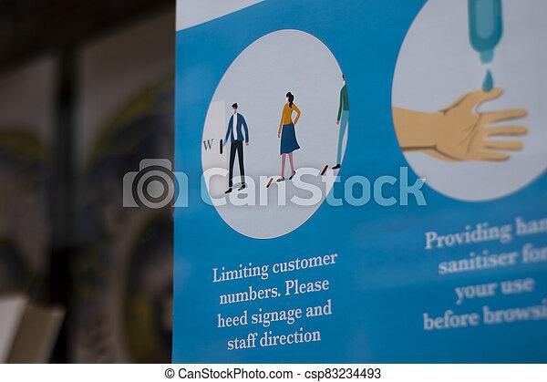 19, tienda, covid, señal, social, distancing - csp83234493