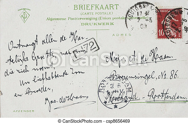 1908 postcard from france to the Netherands