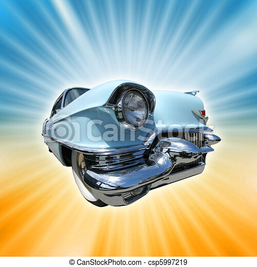 1950s, brista, årgång, bakgrund., amerikan, retro, bil - csp5997219