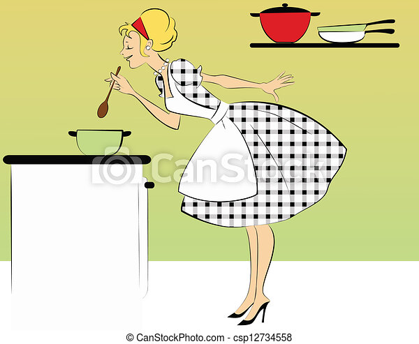 1950s housewife cooking dinner - csp12734558
