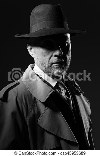 1950s noir movie character. Confident man wearing a fedora hat and a ... 9c9749d52aeb