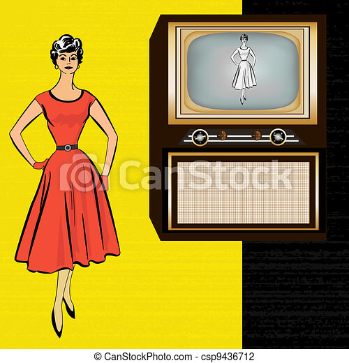 1950's Stle Retro Television Background with a stylish lady - csp9436712