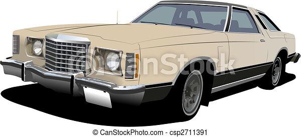 1960\'s light pink sedan on isolated background. Vector illustration - csp2711391
