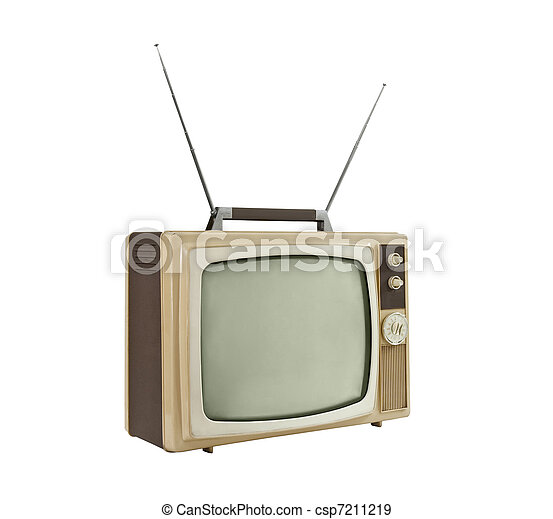 1960's Portable Television with Antennas Up - Side Angle - csp7211219