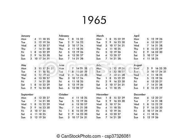 Calendario Del Ano 1965.1965 Ano Civil