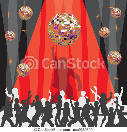 1970's disco party invitation  - csp9350309