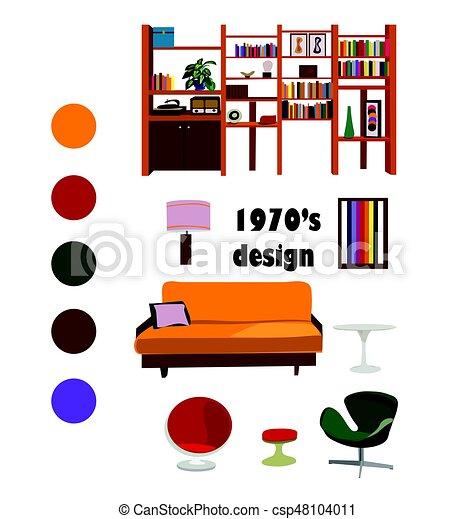 1970s interior design vector set living room furniture vector rh canstockphoto com  interior design clipart free