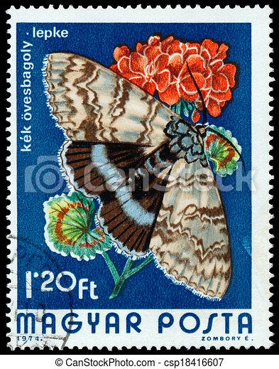 1974:, underwing, catocala, postzegel, hongarije, bedrukt, blauwe , fraxini, -, vlinder, optredens, 1974, circa - csp18416607