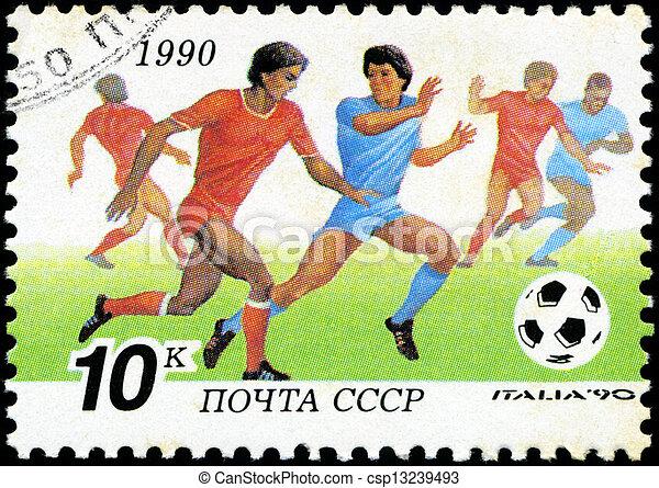 1990, players., reihe, becher, briefmarke, italien, fußball, -, 1990:, udssr, gedruckt, welt, zirka, shows - csp13239493