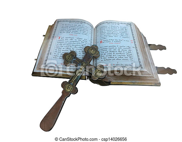 19th Century old bible and cross isolated over white - csp14026656
