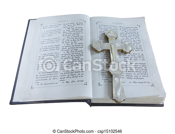 19th Century old bible and cross isolated over white - csp15102546