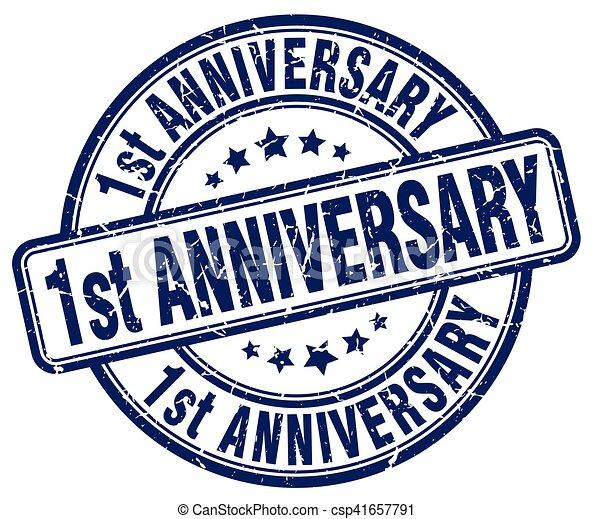 1st anniversary blue grunge stamp - csp41657791