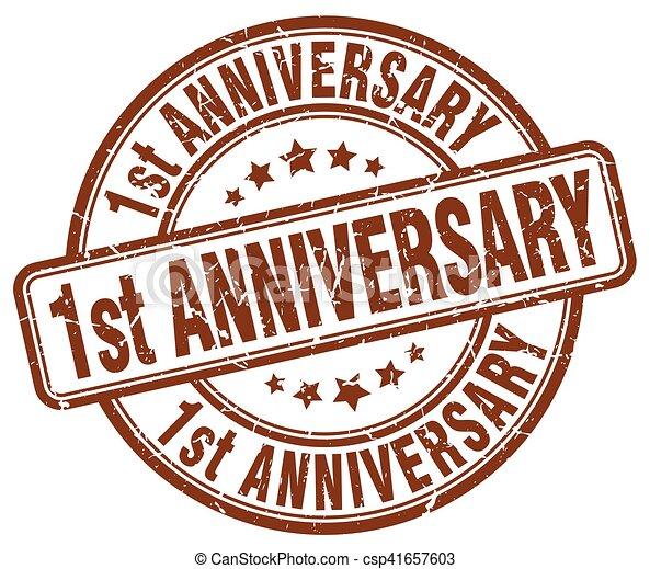 1st anniversary brown grunge stamp - csp41657603