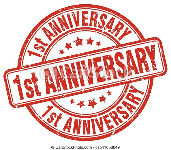 1st anniversary red grunge stamp - csp41658049