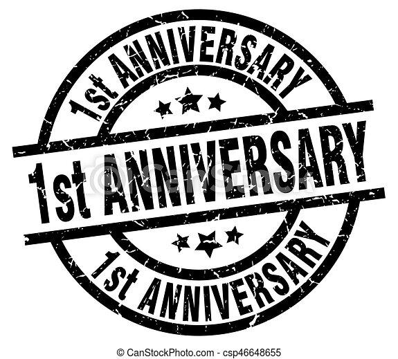 1st anniversary round grunge black stamp - csp46648655
