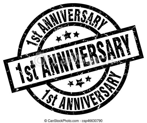 1st anniversary round grunge black stamp - csp46630790