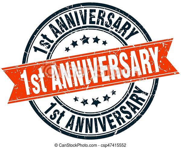 1st anniversary round grunge ribbon stamp - csp47415552